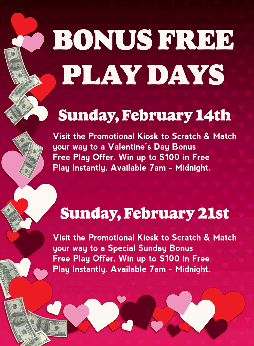 Bonus Free Play Days at Baldini's Casino