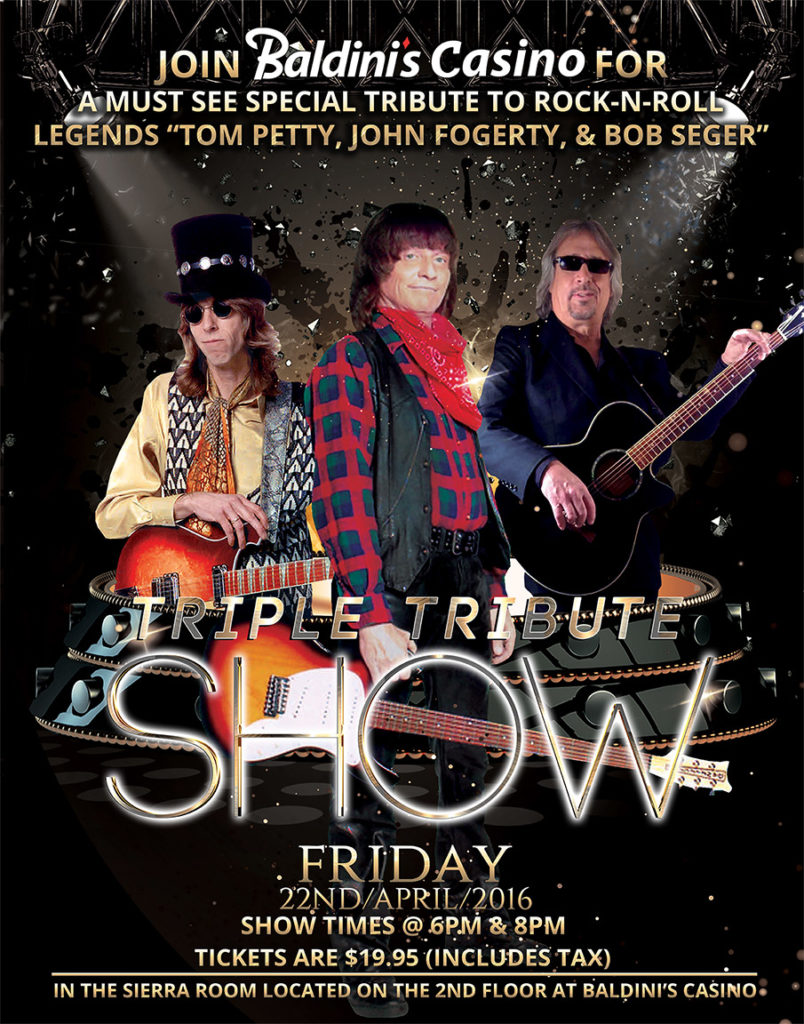 Triple Tribute Show at Baldinis Casino