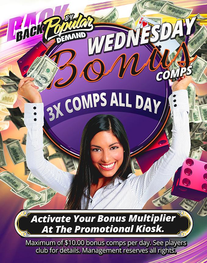 Wednesday Bonus Comps Baldini's Casino Sparks Nevada