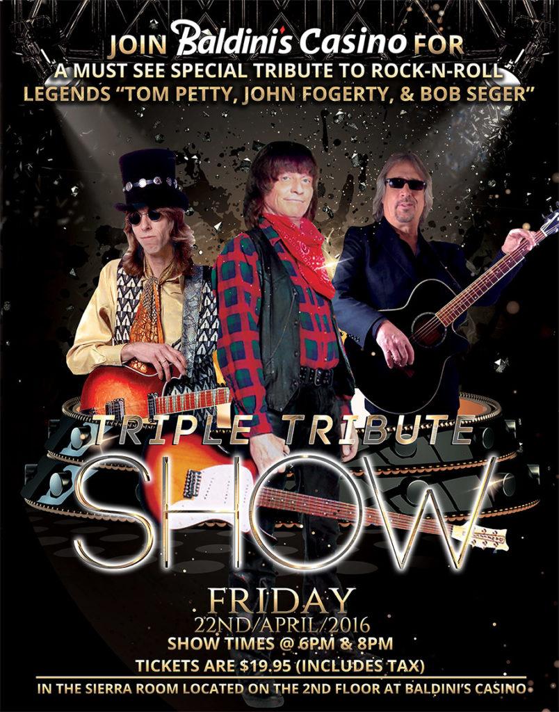 Triple Tribute Show at Baldinis Casino