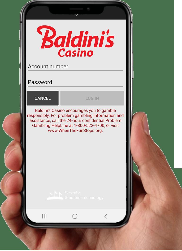 Baldinis Sport app in hand